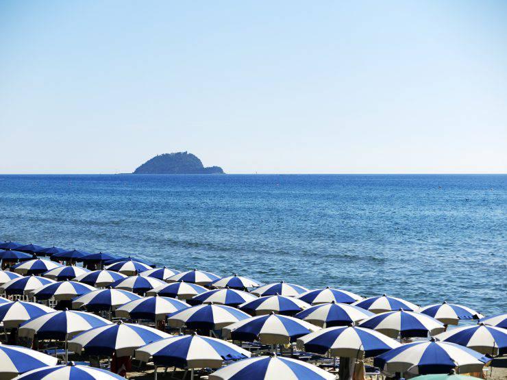 Alassio Beach with Beach Umbrella