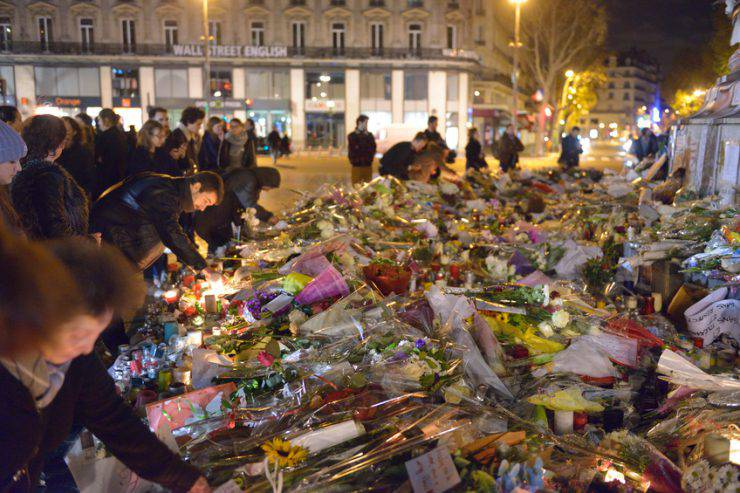 Paris, France - November 18, 2015: Commemoration against  terrorist attacks, on November 18th, 2015 at Republique place in Paris, France