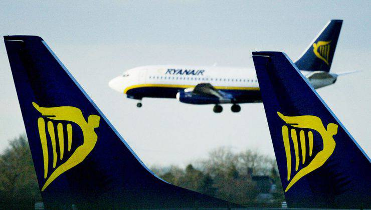 LONDON - AUGUST 8:  (FILE PHOTO)  In this file photo, a Ryanair jet lands at Stansted airport February 4, 2003 in London. Ryanair, a low-budget airline, announced August 5, 2003 a net profit of 43.8m euros for the second quarter of 2003 compared with 32.0m euros for the same period a a year before. (Photo by Ian Waldie/Getty Images)