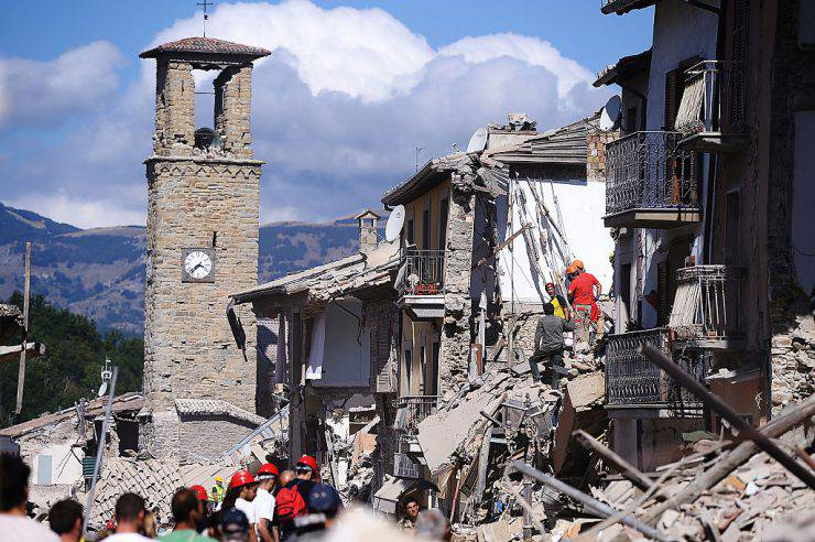 Amatrice distrutta dal terremoto del 24 agosto 2016 (FILIPPO MONTEFORTE/AFP/Getty Images)