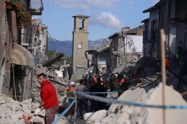 Amatrice colpita dal terremoto del 24 agosto 2016 (FILIPPO MONTEFORTE/AFP/Getty Images)
