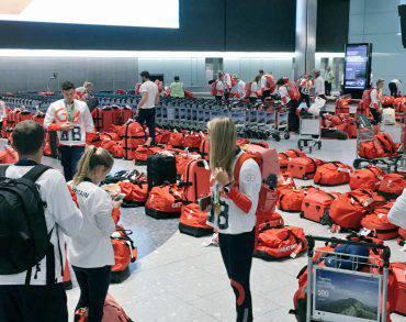 Bagagli atleti britannici di ritorno da Rio (Foto Alex Gregory)