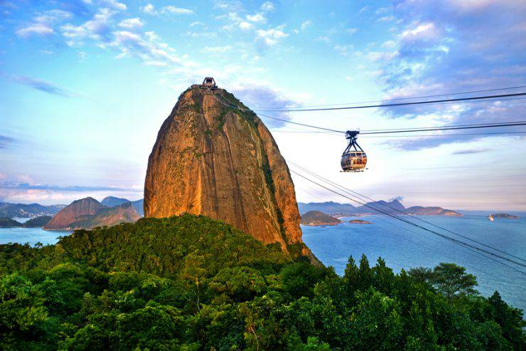 Sugar Loaf Mountain, Tropical Forest and its cable car view from Urca Hill tramway station