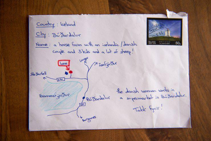 La lettera con l'indirizzo disegnato (dal sito web Skessuhorn)