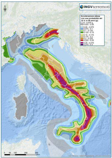 Mappa sulla pericolosità sismica in Italia (Da: ingvterremoti.wordpress.com)