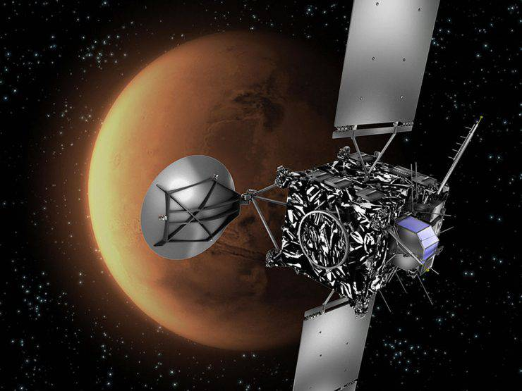 Paris, FRANCE: WITH AFP STORY SPACE-EUROPE-ROSETTA Artist's impression of the European Space Agency (ESA) probe Rosetta with Mars in the background. A European comet-chasing spacecraft is set for a nail-biting close encounter this weekend with Mars. The billion-euro (1.3-billion-dollar) probe Rosetta will come within 250 kilometers (156 miles) of the Red Planet's surface, using Martian gravity to correct its course in one of the longest and costliest treks in the history of unmanned space exploration. The European Space Agency (ESA) probe, launched in March 2004, is designed to rendezvous with Comet Churyumov-Gerasimenko in 2014 after a voyage of 7.1 billion kilometers (4.4 billion miles). It will send a refrigerator-sized lab, called Philae, to the comet's surface to investigate the rock's chemistry. AFP PHOTO ESA/C.CARREAU (Photo credit should read C.CARREAU/AFP/Getty Images)