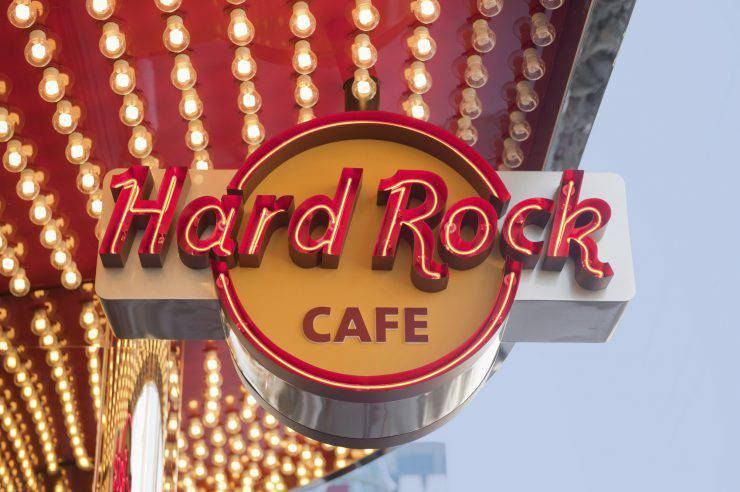 Las Vegas, Nevada, USA - March 31, 2011: Hard Rock Cafe Las Vegas is located on Las Vegas Boulevard (The Strip) in the Showcase Mall, next to the MGM Grand and adjacent to the Monte Carlo.