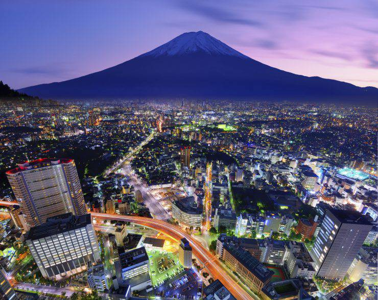 Ueno District and Mt. Fuji in Tokyo, Japan.