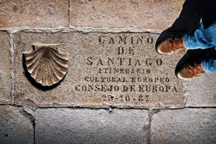 shell sign marks for pilgrims in Camino de  Santiago , Compostela, Galicia, Spain