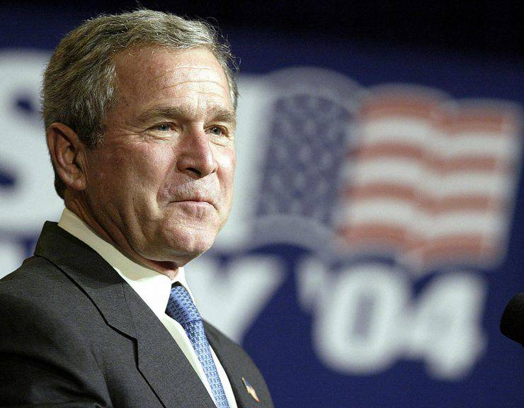 SAN ANTONIO, UNITED STATES:  US President George W.Bush is introduced at a Bush-Cheney 2004 fundraising dinner 30 October 2003 in San Antonio, Texas.  After the dinner, President Bush is scheduled to to return to his ranch in Crawford, Texas where he is sleeping for the next for nights.    AFP PHOTO/Luke FRAZZA  (Photo credit should read LUKE FRAZZA/AFP/Getty Images)