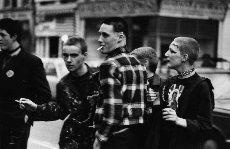 14th May 1977:  Young punks queuing outside the Rainbow, London, to see The Clash and The Jam in concert.  (Photo by Chris Moorhouse/Evening Standard/Getty Images)