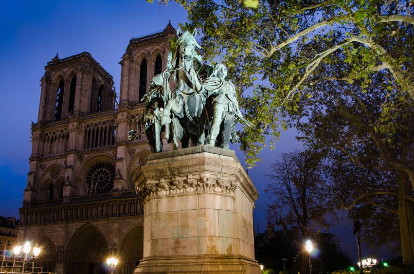 notre dame cathedral and chalemagne monument - paris - france