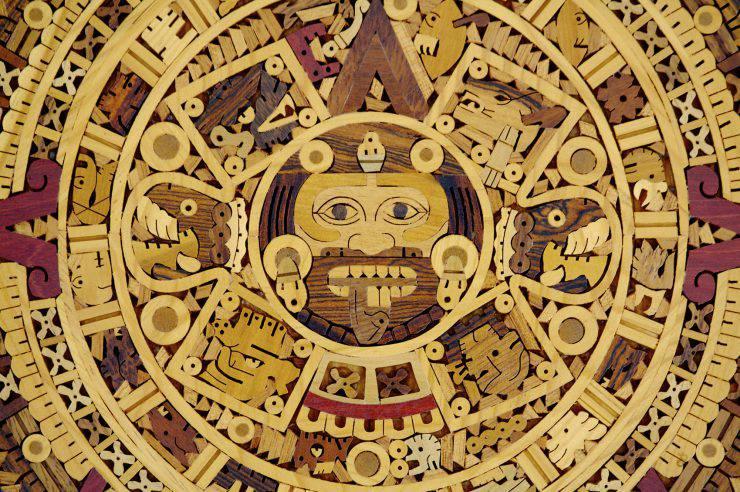 Aztec calendar in wood craft