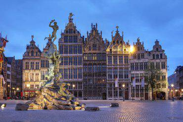 A series of Guildhouses in Grote Markt (Big Market Square) in the old town of Antwerp, Belgium at twilight.