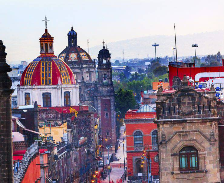 Zocalo Chruches Painted Domes Steeples Streets, Center of Mexico City Mexico