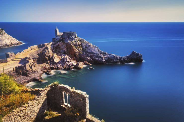 Portovenere San Pietro Church. Long Exposure. Five lands, Cinque Terre, Liguria Italy Europe.