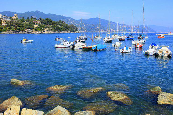 Liguria Bay panorama, yatchs, boats and harbor, Santa Margherita Ligure, Italy.