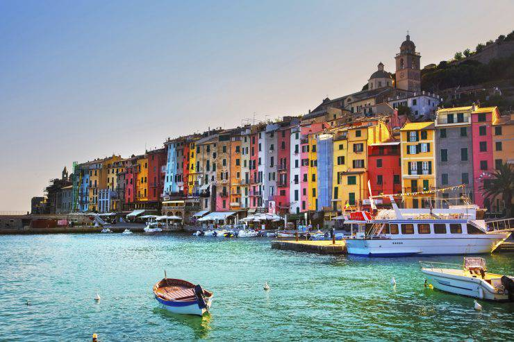 Portovenere old village on the sea on sunset. Five lands, Cinque Terre, Liguria Italy Europe.