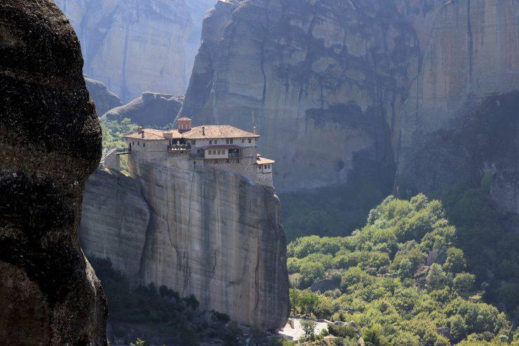 Monastery in the mountains. View of the mountain valley. Thessaly. Kalambaka. Meteora