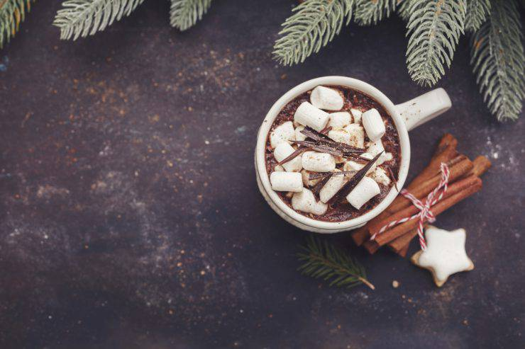 Hot chocolate with marshmallows and cookies.  Christmas background with copyspace, vintage style. Top view, horizontal.