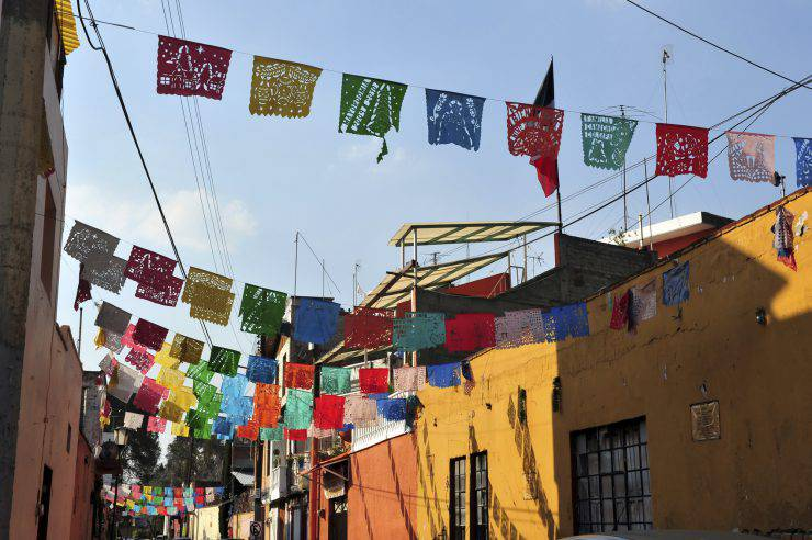 A street of colourful Mexican houses in Mexico City.