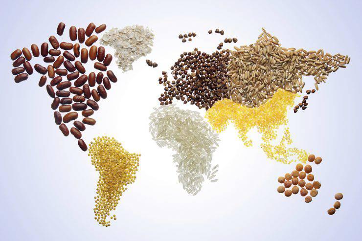 mappa mondo con grano