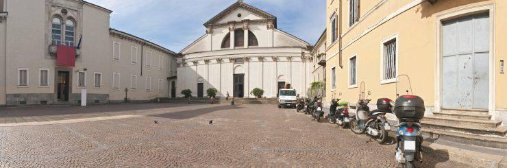 """""""Scooters parked on the piazza outside the Museo Nazionale della Scienza e della Tecnologia 'Leonardo da Vinci' and San Vittore al Corpo in the Magenta district of Milan, Lombardy, Italy. ProPhoto RGB profile for maximum color fidelity and gamut."""""""