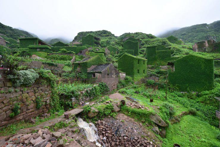 IL villaggio sepolto dall'edera di Houtou Wan sull'isola di Gouqi (Shi_Kaiming, iStock)