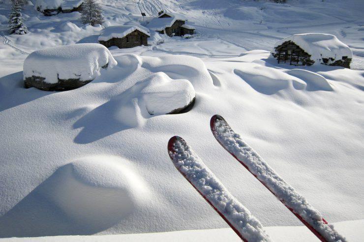 Skis in a Winter Landscape