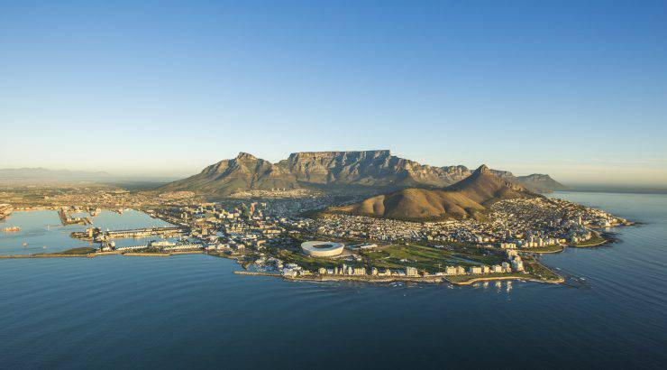 An aerial image showcasing Capetown South Africa.