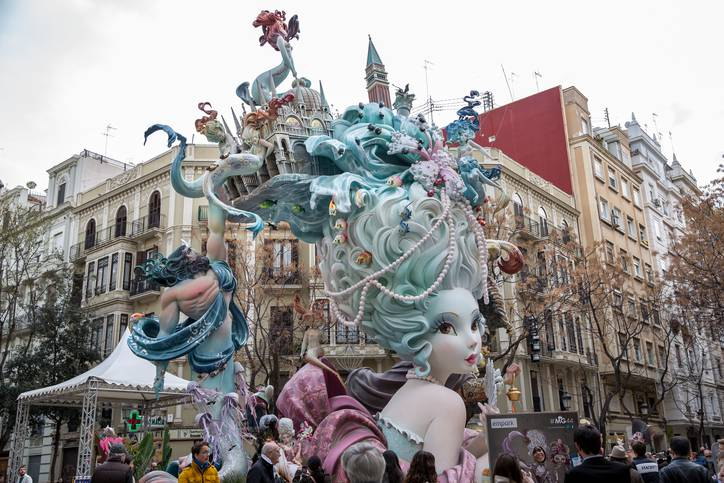 Valencia, Spain – March, 17, 2015: Las Fallas, papermache models are displayed during traditional celebration in praise of St Joseph. Celebration is annual. This falla is in the Einxample district, Valencia. The theme of the falla is Venice's culture and traditions.