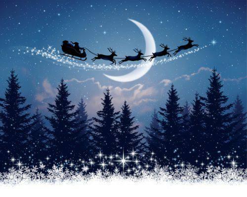 Slitta Babbo Natale Immagini.Il Viaggio Di Babbo Natale E Della Sua Slitta Nella Notte