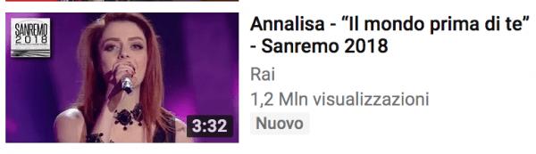 Annalisa terza classificata su youtube