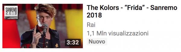 The Kolors quarti su youtube