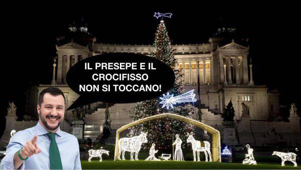 Salvini il presepe e il crocifisso non si tocca