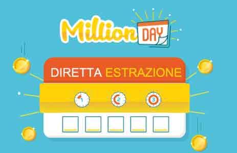 estrazione million day 19 marzo diretta