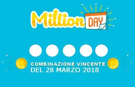 estrazione million day 28 marzo