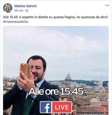 Avviso Salvini della sua diretta su fb del 29 maggio 2018