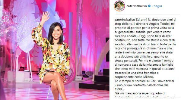 Caterina Balivo, post d'addio a Detto Fatto
