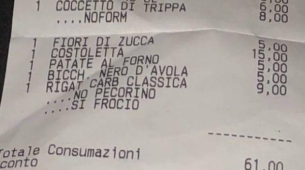 Scontrino omofobo, a cena in un ristorante romano: sul conto la scritta f***i