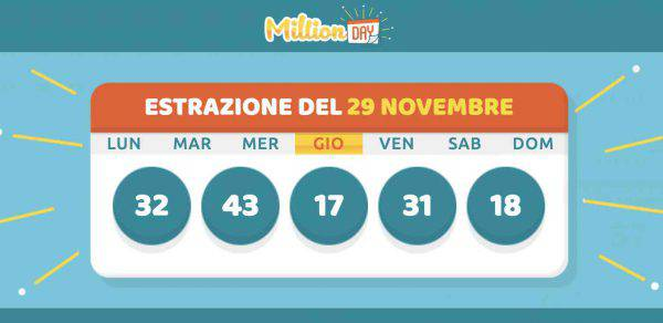 million day estrazione 29 novembre 2018