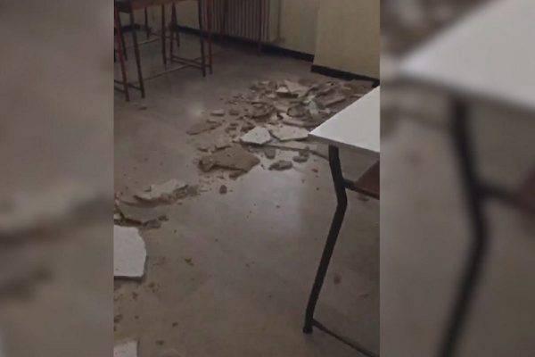 crolla parete scuola