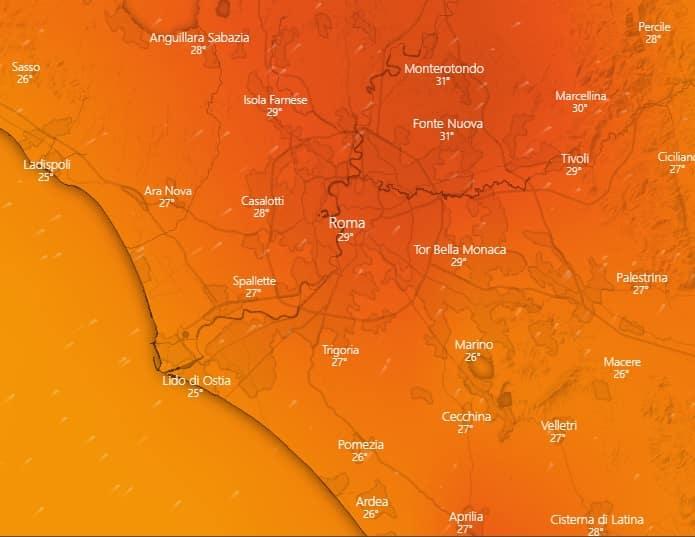 meteo roma 19 luglio
