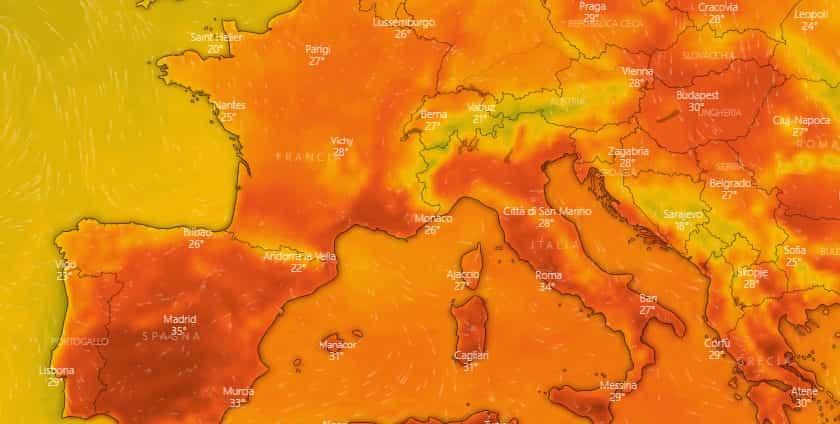 caldo luglio europa