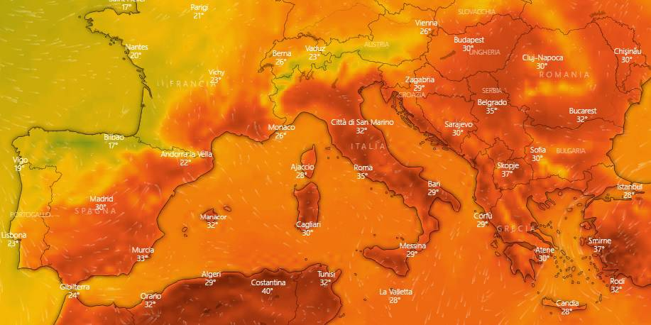 meteo italia agosto