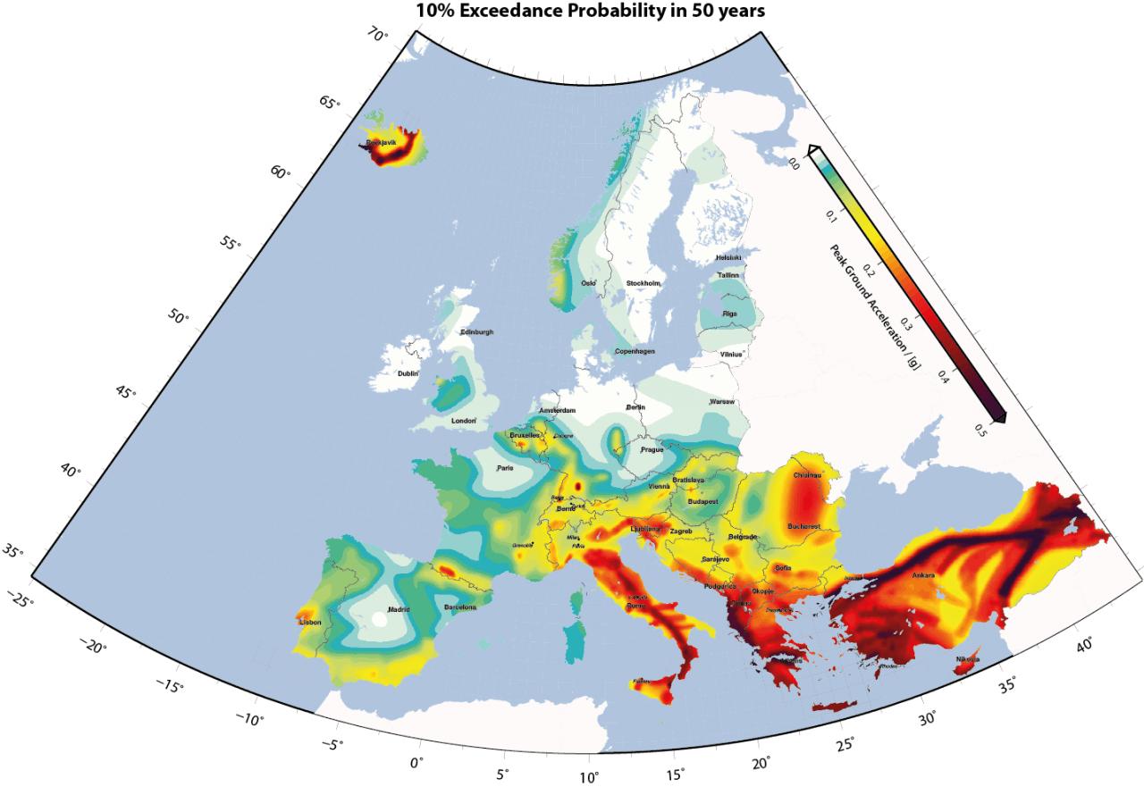Cartina Dellitalia Zone Sismiche.Zone D Europa Con Meno Rischio Sismico Le Citta Piu Sicure