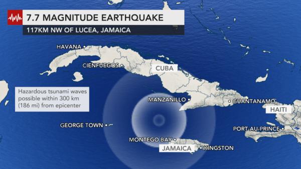 Terremoto di magnitudo 7,7 in mare tra Cuba e Giamaica: allarme tsunami