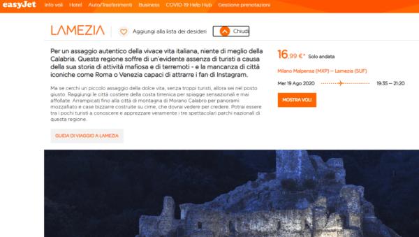 La Calabria descritta da easyJet