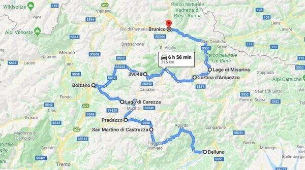 itinerario dolomiti