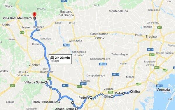 itinerario auto venezia